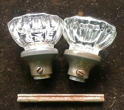 2) Antique Vtg 12 Point Glass & Pewter Doorknob Door Knobs w Rod & Set Screws