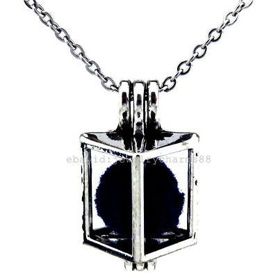 V246 Vintage Silver Beads Cage 23mm Hollow Square Locket Stainless Necklace Men