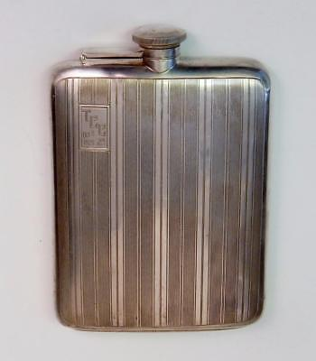 Antique Art Deco Sterling Flask Dated Oct. 8, 1925 T.C.C. 2d Weighs 264 Grams