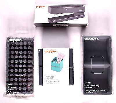 POPPIN Stapler/ Pen Cup/ This + That Tray/ Grip Grass Desk Set Dark Gray >NEW