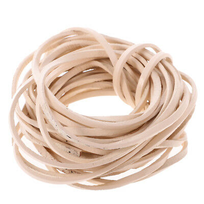 Beige 5m Flat Leather Cord For Beading Jewelry Making DIY Craft String 3mm