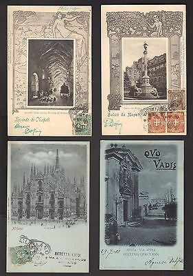 ITALIE - 4 cartes postales anciennes