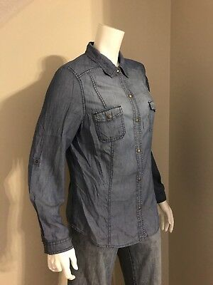Women's Old Navy Long Sleeve Button Down Denim Shirt Size Large