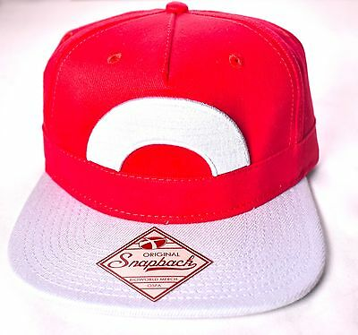 POKEMON Ash Red Snapback Hat/Cap Adjustable One Size Fits Most Bioworld >NEW<