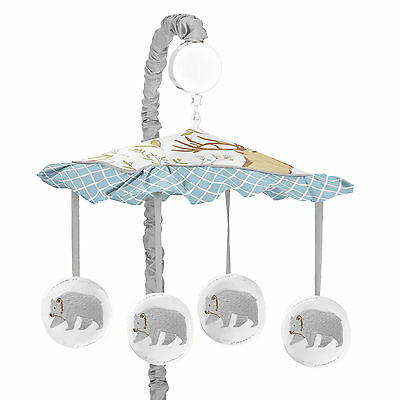 Sweet Jojo Designs Grey Bear Woodland Toile Musical Mobile Baby Crib Bedding Set