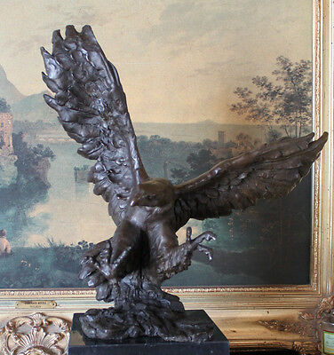 Flying Fishing Bald Eagle Military Art American Patriotic Bronze Marble Statue