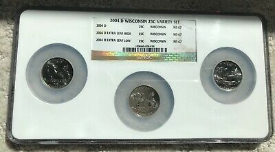 2004-D WISCONSIN 25c MULTI 3 COIN SET EXTRA HIGH & LOW LEAF & REG. NGC MS 67