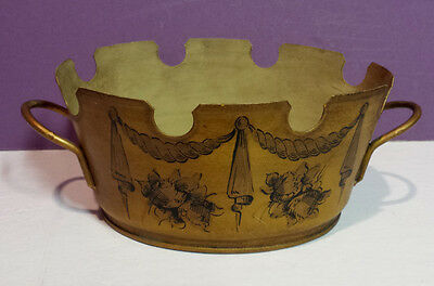 Vintage French Country Tole Toleware Planter Cache Pot Jardinere