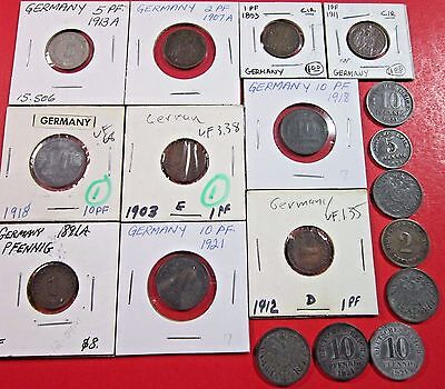 Germany, Empire. Vintage Lot Of 18 Assorted  German Empire Coins. See Pic