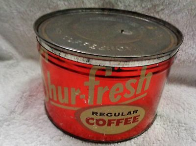 Vintage Shur-Fresh Cream Colored Graphics  Red Metallic Coffee Can