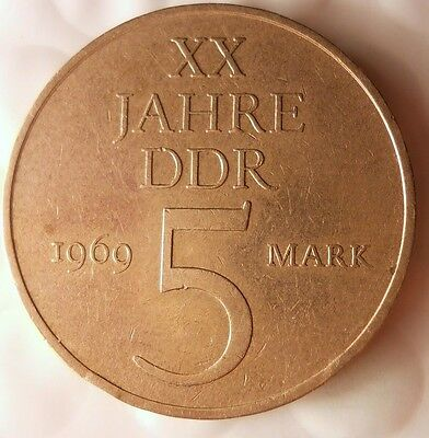 1969 EAST GERMANY 5 MARKS - Rare 25% Nickel Version - 12,471 Minted - DDR BIN #2