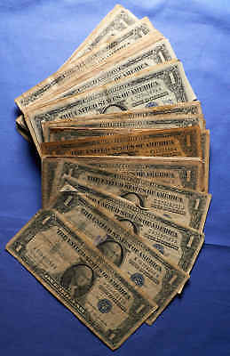 Pack of 85 $1 Silver Certificates.Off quality,stained,torn. Some Star Notes!