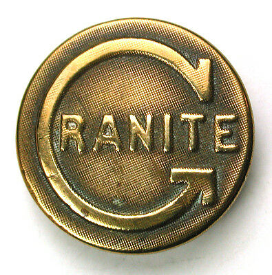 "Antique Brass Work Clothes Button ""Granite"" w/ large ""G"" Image 9/16"""