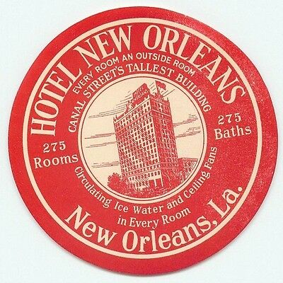 Louisiana Hotel New Orleans Great Vintage Luggage Label