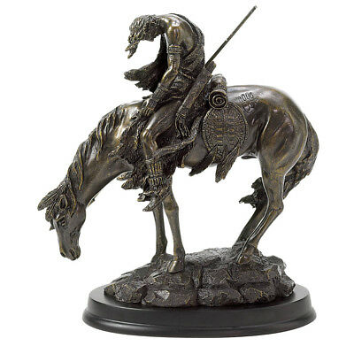 Bronze The End Of The Trail Hand Painted Statue Figure