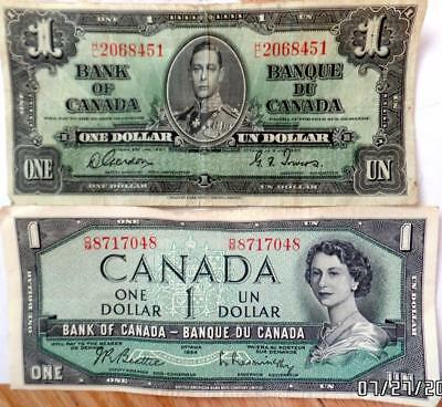 2 Bank Of Canada One Dollar Bills 1937 And 1954