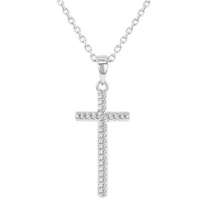 925 Sterling Silver Religious Twisted Cross Pendant Necklace Girls Ladies 18""