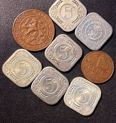 Old Curacao Coin Lot - 1940-1948 - 7 Collectible Coins - Lot 815