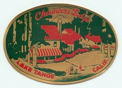 Lake Tahoe California Chambers Lodge Hotel Vintage Gold Foil Luggage Label