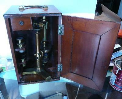 C1885 Antique BAUSCH & LOMB  INVESTIGATOR Brass Microscope 2 obj. 2 eyepieces