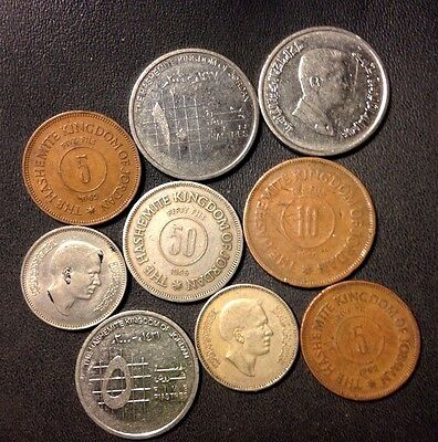 Old Jordan Coin Lot - 1960-Present - 9 Excellent Islamic Coins - Lot #815