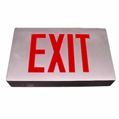 Die Casting Exit Sign / Red / Battery Back-Up. E3Dr