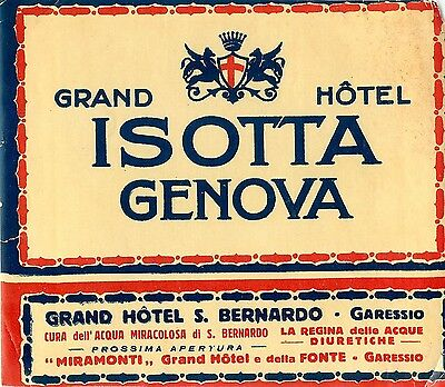 Genova Italy Grand Hotel Isotta Old Hotel Luggage Label