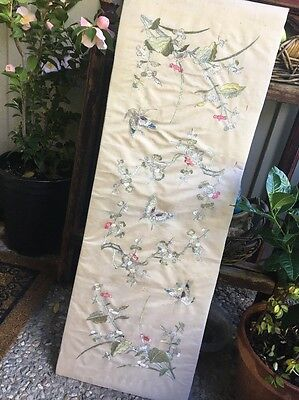 Rare Chinese Silk Embroidery Panel Textile Costume Robe Flowers