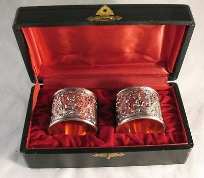 Vintage Silver Plated Cherub Repousse Napkin Rings 2 in Lined Box Monogram date