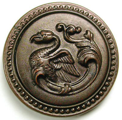 Antique Tinted Brass Button Fanciful Dragon Design - 1 & 3/16""