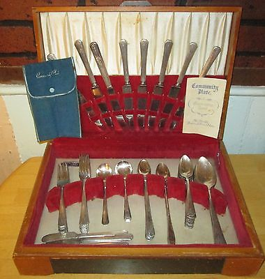 64 pc. Silver Plated Silverware Community Plate Argyle New England Art Deco.