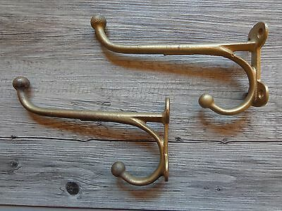 Vtg Pair of Large Heavy Cast Iron Coat Hooks Painted Brass Gold Projects 8""