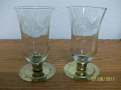 Home Interior/homco--Set Of 2--Tall Angel Glass Votive Candle Cups