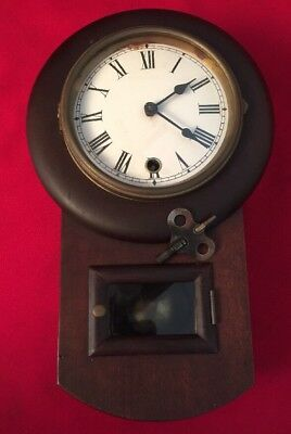 Vintage Wood Case Wall Clock Wind Up Key Pendulum Clock Unknown Maker Working