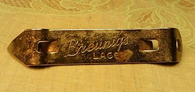 Old BEER OPENER Breunigs Lager bottle can Rice Lake WI Wis Wisconsin
