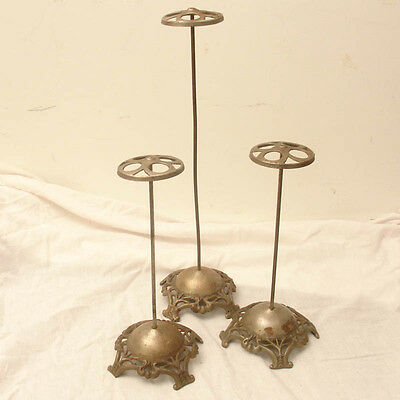 3 Antique Nickel Plated Cast Iron Store Display Hat Stands,Haberdashery,Vintage