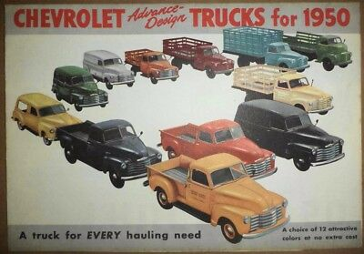 Vintage 1950 Chevrolet Chevy Trucks All Models Advertising Sales Brochure Poster