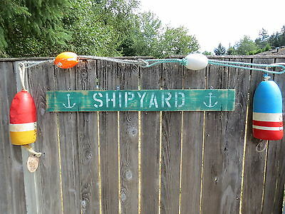 48 Inch Wood Hand Painted Shipyard & Anchor Sign Nautical Seafood (#s823)
