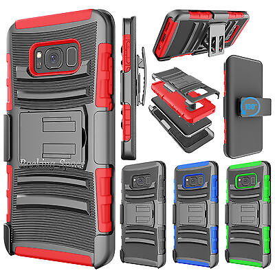 SAMSUNG GALAXY S8 / Plus STAND CASE W/HOLSTER BELT CLIP HYBRID ARMOR HARD COVER