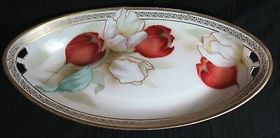 RS Germany Pierced Handle Oval Celery Tray Bowl Red White Tulips Tillowitz