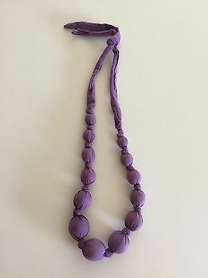 Tea Collection Purple Fabric Covered Bead Necklace