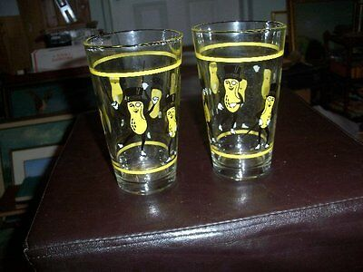 2 Vintage PLANTER's MR. PEANUT Drinking Glasses Tumblers 6 Inches Tall
