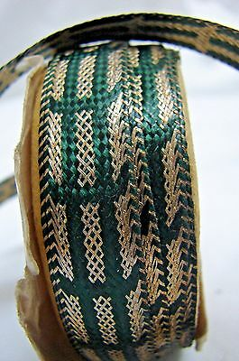 Nearly 2 Yards Gorgeous Antique Green Silk & Gold Metallic Ribbon