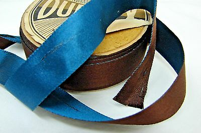 Antique Duplex Two Tone Teal & Brown Silk Roll Paper Wrapped Ribbon Trim