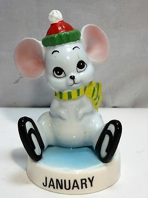VINTAGE NORCREST JAPAN PORCELAIN JANUARY MOUSE FIGURINE #SM-70, c. 1960's