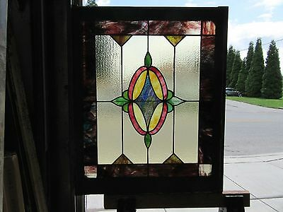~ Antique American Stained Glass Window ~ 30 X 35 ~ Architectural Salvage ~