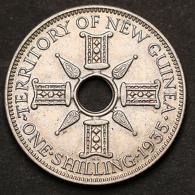 1935 New Guinea Shilling KM# 5 Sterling Silver George V Coin gEF+