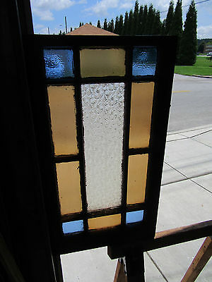 ~ ANTIQUE QUEEN ANNE STAINED GLASS WINDOW ~ 18 x 34 ~ ARCHITECTURAL SALVAGE