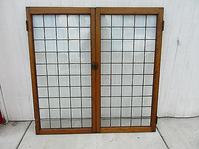 ~ Pair Of Oak Leaded Glass Cabinet Doors  ~ 47 X 47 ~ Architectural Salvage