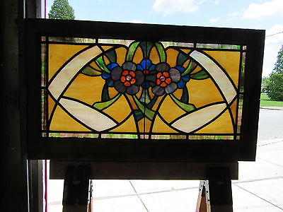 Antique  American Stained Glass Transom Window ~35 X 20~ Architectural Salvage